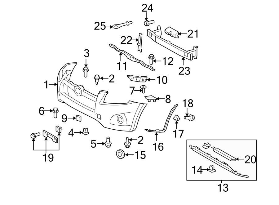 Diagram FRONT BUMPER. BUMPER & COMPONENTS. for your 2010 Toyota RAV4 Limited Sport Utility