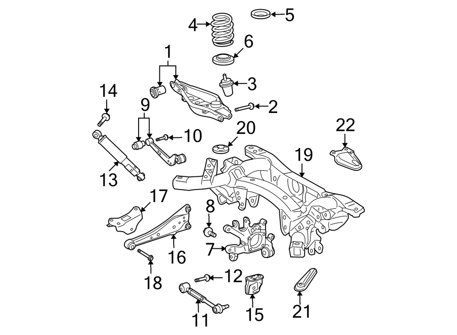 Diagram REAR SUSPENSION. SUSPENSION COMPONENTS. for your 2008 Toyota RAV4 Base Sport Utility 2.4L A/T 4WD